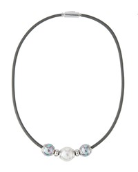 Majorica Storm Triple Pearl Leather Cord Necklace White Gray