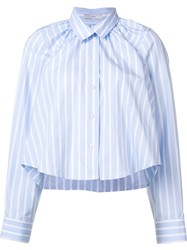 Tome Striped Cropped Shirt Blue