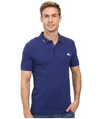Lacoste Short Sleeve Clean Seams Pique W Rubber Croc Waterfall Blue Men's Clothing Navy