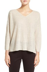Eileen Fisher Women's Lightweight Organic Linen Knit V Neck Top Sea Salt