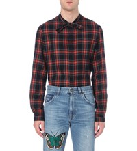 Gucci Tartan Cotton And Wool Blend Shirt Red