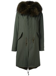 Furs66 Fur Trim Paneled Coat Green