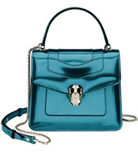 Bulgari Serpenti Forever Leather Shoulder Bag Teal Topaz