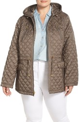 Plus Size Women's Laundry By Shelli Segal Hooded Quilted Drop Tail Jacket Green Olive