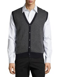 Neiman Marcus Textured V Neck Button Front Vest Dark Midni