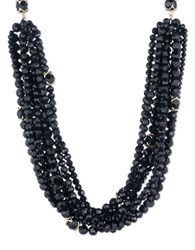 Ivanka Trump Cubic Zirconia And 10K Gold Plated Beaded Collar Necklace Black