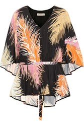 Emilio Pucci Cape Back Silk Paneled Printed Jersey Blouse Black