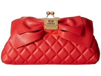 Love Moschino Quilted Bow Clutch Red Clutch Handbags