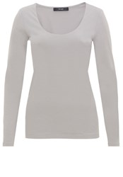 Hallhuber Jersey Round Neck Long Sleeve Light Grey