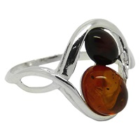Goldmajor Sterling Silver Two Tone Amber Ring Amber N