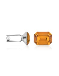 Forzieri Silver Plated Crystal Cuff Links Yellow