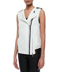 Andrew Marc New York Ottoman Suiting Vest W Leather Trim Black