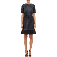 Amelia Toro Geo Jacquard Belted Dress Navy