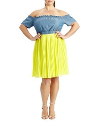 Modamix Plus Two Toned Off The Shoulder Dress Blue Yellow
