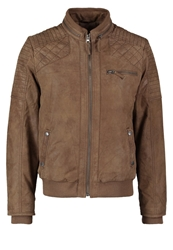 Tom Tailor Pig Cloudy Leather Jacket Mud Light Brown