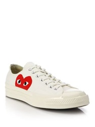 Comme Des Garcons Peek A Boo Canvas Low Top Sneakers White Black