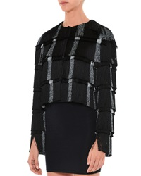 Marco De Vincenzo Layered Fringe Cropped Jacket Black