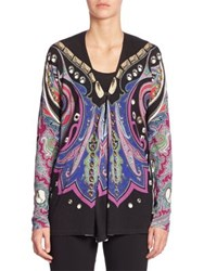 Etro Printed Silk And Cashmere Cardigan Purple Multi