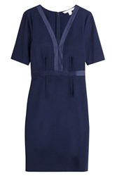 Diane Von Furstenberg Sheath Dress With Satin Trim Blue