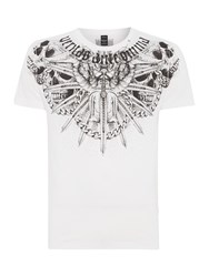 Replay Men's Illustration Printed Jersey T Shirt Optical White