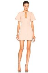 David Koma Front Zip Flounce Sleeve Mini Dress In Pink
