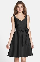 Alfred Sung Women's Peau De Soie Fit And Flare Dress Black