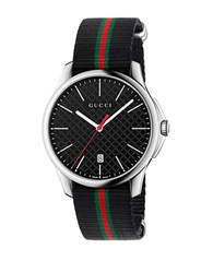 Gucci Stainless Steel And Nylon Strap Watch Black