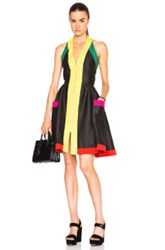 Isa Arfen Zip Up Halter Dress In Black Yellow Abstract