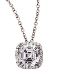 6.75Ct Asscher Cut Cubic Zirconia Pendant Necklace Fantasia By Deserio White Gold