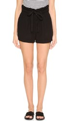 7 For All Mankind Belted Pleated Shorts Black
