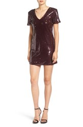 Roxberi Elle Women's Sequin Short Sleeve Shift Dress Wine