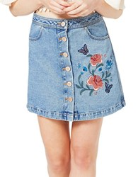 Miss Selfridge Floral Embroidered Denim Skirt Blue