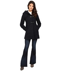 Jessica Simpson Braided Wool Duffle Coat With Hood Navy Women's Coat
