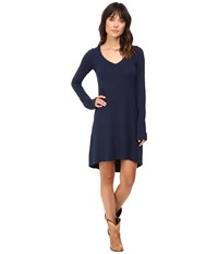 Stetson Rayon Knit V Neck T Shirt Dress Blue Women's Dress