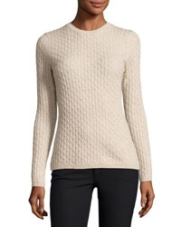 In Cashmere Cable Knit Pullover Sweater Light Beige