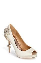 Badgley Mischka Women's 'Royal' Crystal Embellished Peeptoe Pump Ivory Satin
