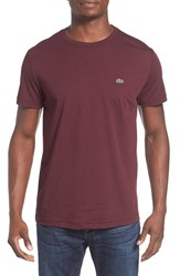 Lacoste Men's Pima Cotton Crewneck T Shirt Red Grape