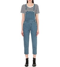Izzue Tapered Leg Cropped Denim Dungarees Nyk