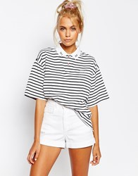 Lazy Oaf Stripe Polo Shirt With Yes No Collar White