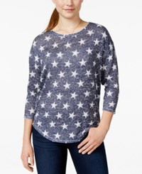 Almost Famous Juniors' Striped High Low Pullover Sweater