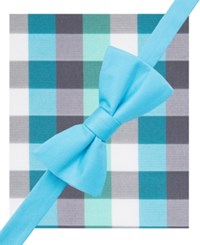 Alfani Spectrum Men's Howard Plaid Pre Tied Bow Tie And Pocket Square Set Only At Macy's Mint