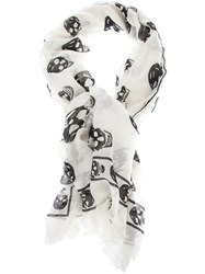 Alexander Mcqueen Skull Print Scarf Nude And Neutrals