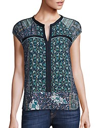 Collective Concepts Printed Cap Sleeve Top Multi