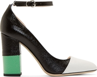 Thom Browne Black Colorblock Leather Asymmetric Pumps