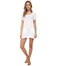 Three Dots Tunic Cover Up White Women's Blouse