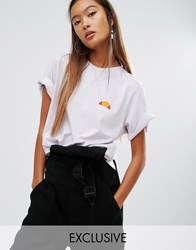 Ellesse Oversized Boyfriend Tee With Washed Out Logo Grey Lilac Purple
