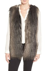 Via Spiga Women's Collarless Faux Fur Vest Black Multi