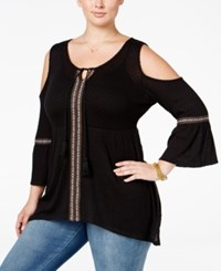 American Rag Trendy Plus Size Cold Shoulder Peasant Top Only At Macy's Classic Black Combo