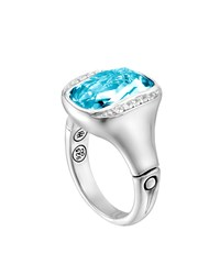 John Hardy Batu Bamboo Octagonal Sky Blue Topaz And White Sapphire Ring Size 6