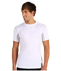 Nike Pro Combat Fitted 2.0 S S Crew White Metallic Silver Men's Short Sleeve Pullover